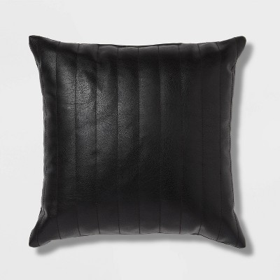 Square Faux Leather Channel Stitch Decorative Throw Pillow - Threshold™