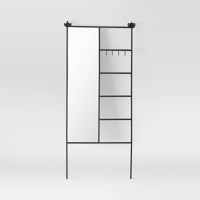 Floor Mirror with Ladder and Hooks Black - Project 62™