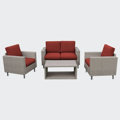 Tybee 4pc Seating Set - Red - Leisure Made