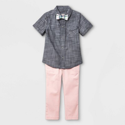 Toddler Boys' 3pc Woven Short Sleeve Shirt & Pant Set with Bow Tie - Cat & Jack™ Gray