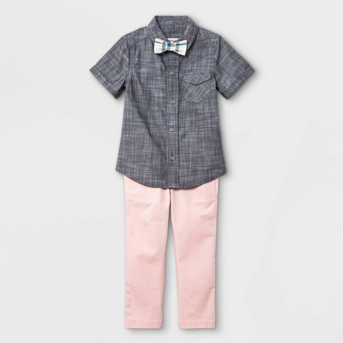 Toddler Boys' 3pc Woven Short Sleeve Shirt & Pant Set with Bow Tie - Cat & Jack™ Gray - image 1 of 3