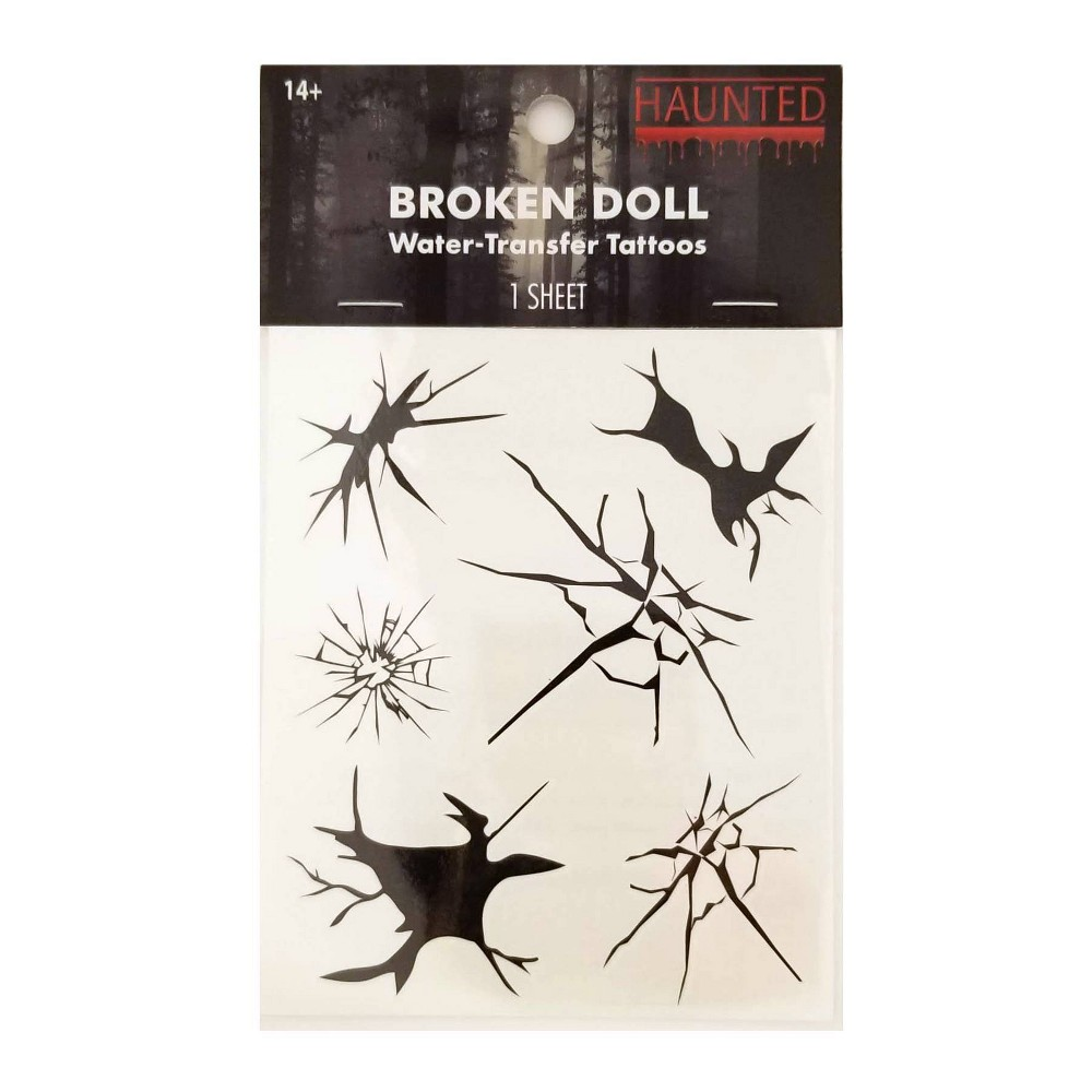 Image of Haunted Halloween Temp Tattoos Broken Doll - 1ea