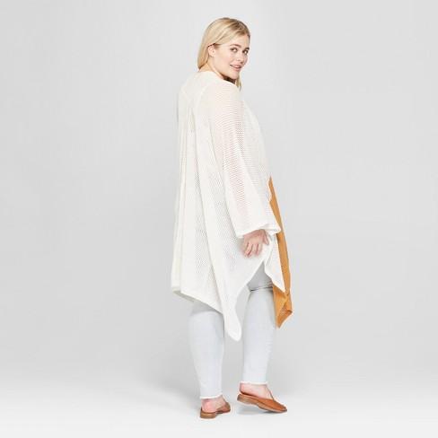 c868cfa76 Women s Plus Size Open Knit Duster Poncho Sweater - Universal Thread ...