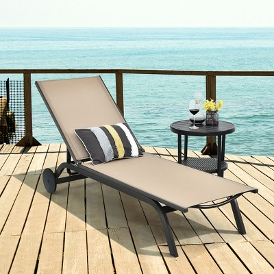 Costway Outdoor Patio Lounge Chair Chaise Reclining Aluminum Fabric Adjustable