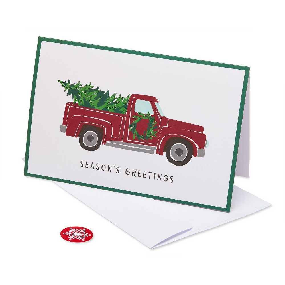 Image of 8ct American Greetings Red Truck And Christmas Tree Boxed Greeting Cards And White Envelopes, Red Green