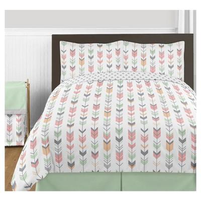 Coral & Mint Mod Arrow Comforter Set (Full/Queen) - Sweet Jojo Designs