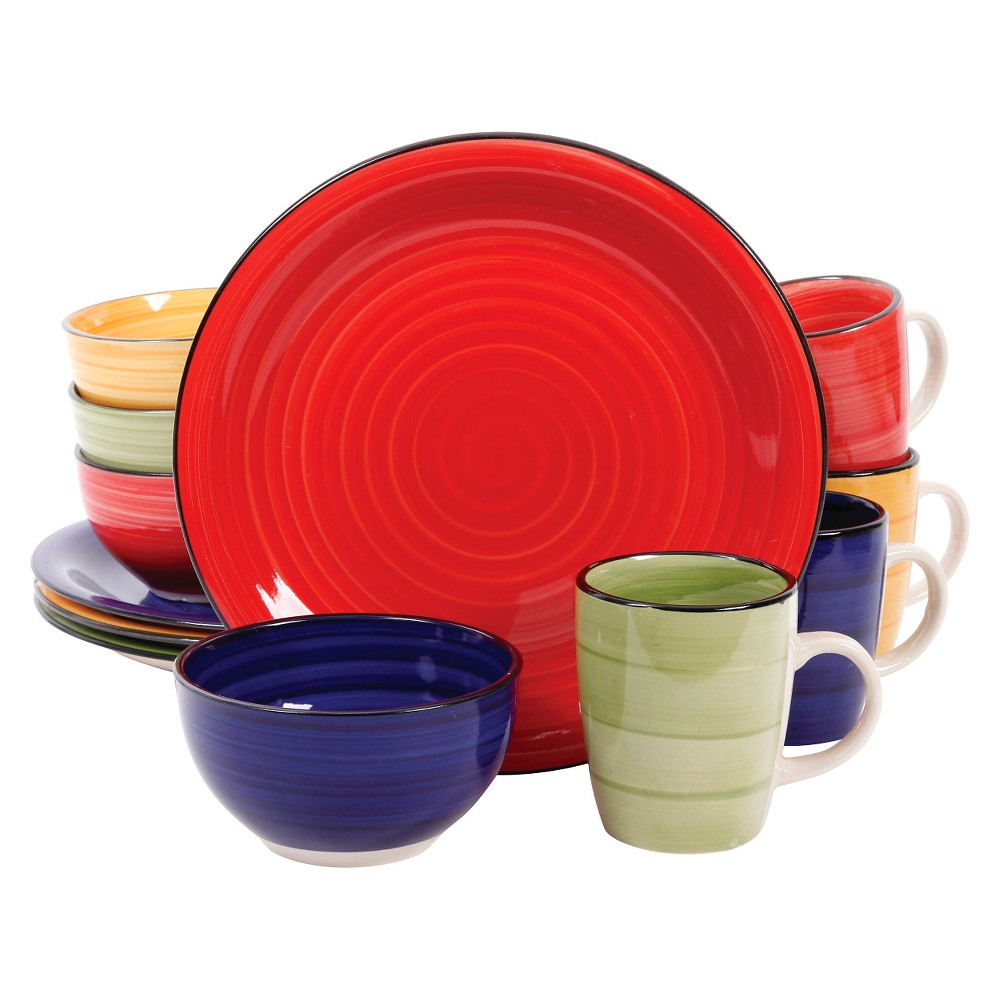 Gibson Color Vibes 12pc Dinnerware Set, Multi-Colored