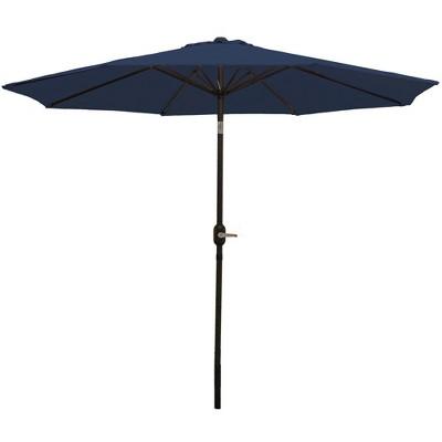 Aluminum Market Tilt Patio Umbrella 9' - Navy Blue - Sunnydaze Decor