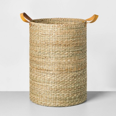 Tall Seagrass Basket with Leather Handle Oversized - Hearth & Hand™ with Magnolia