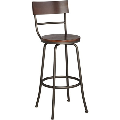 "Elm Lane Langdon 29"" Wood and Bronze Metal Swivel Bar Stool - image 1 of 4"