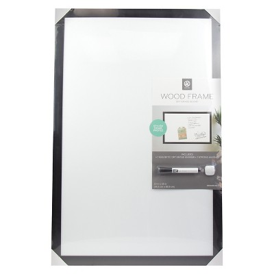 Ubrands Black Wood Frame Dry Erase Board with Marker - 23  x 35