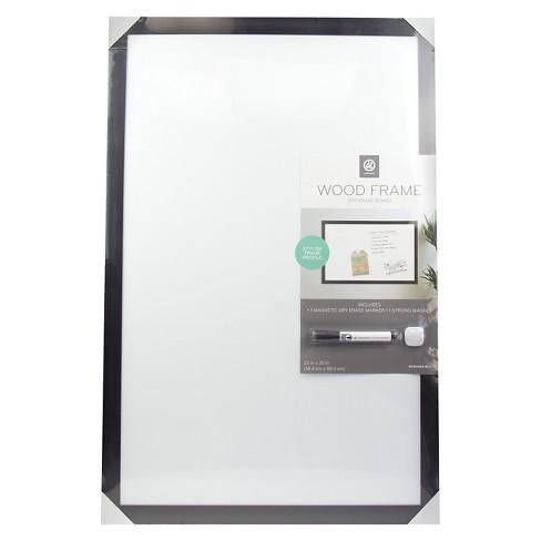 Ubrands Black Wood Frame Dry Erase Board With Marker 23 X 35