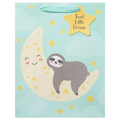 Medium Sleeping Sloth on Moon Baby Shower Gift Bag - Spritz™