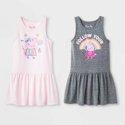 Toddler Girls' Peppa Pig 2pk Sleeveless Dress - 5T