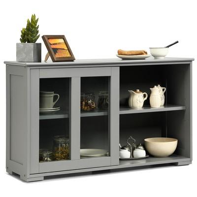 Costway Kitchen Storage Cabinet Sideboard Buffet Cupboard w/ Sliding Door Brown\Gray