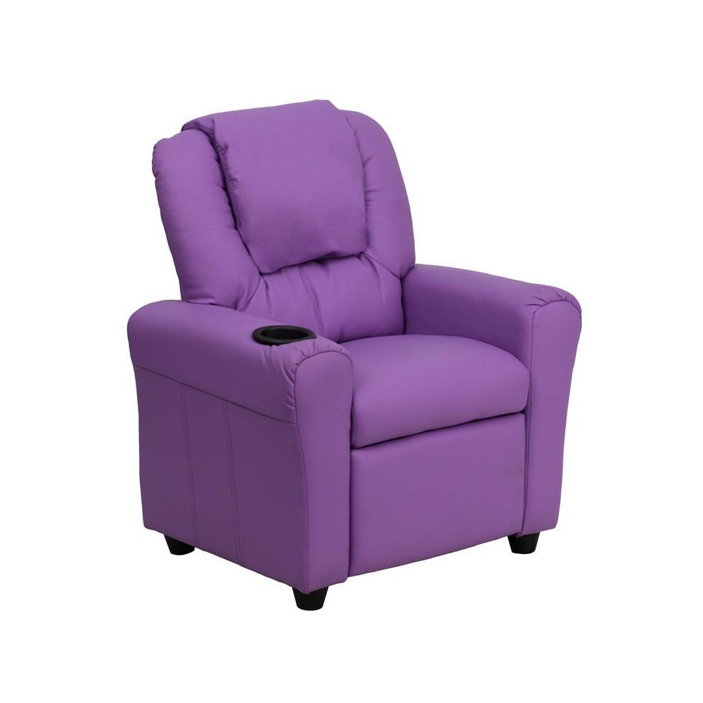Contemporary Kids Recliner with Cup Holder and Headrest Vinyl Lavender (Purple) - Riverstone Furniture