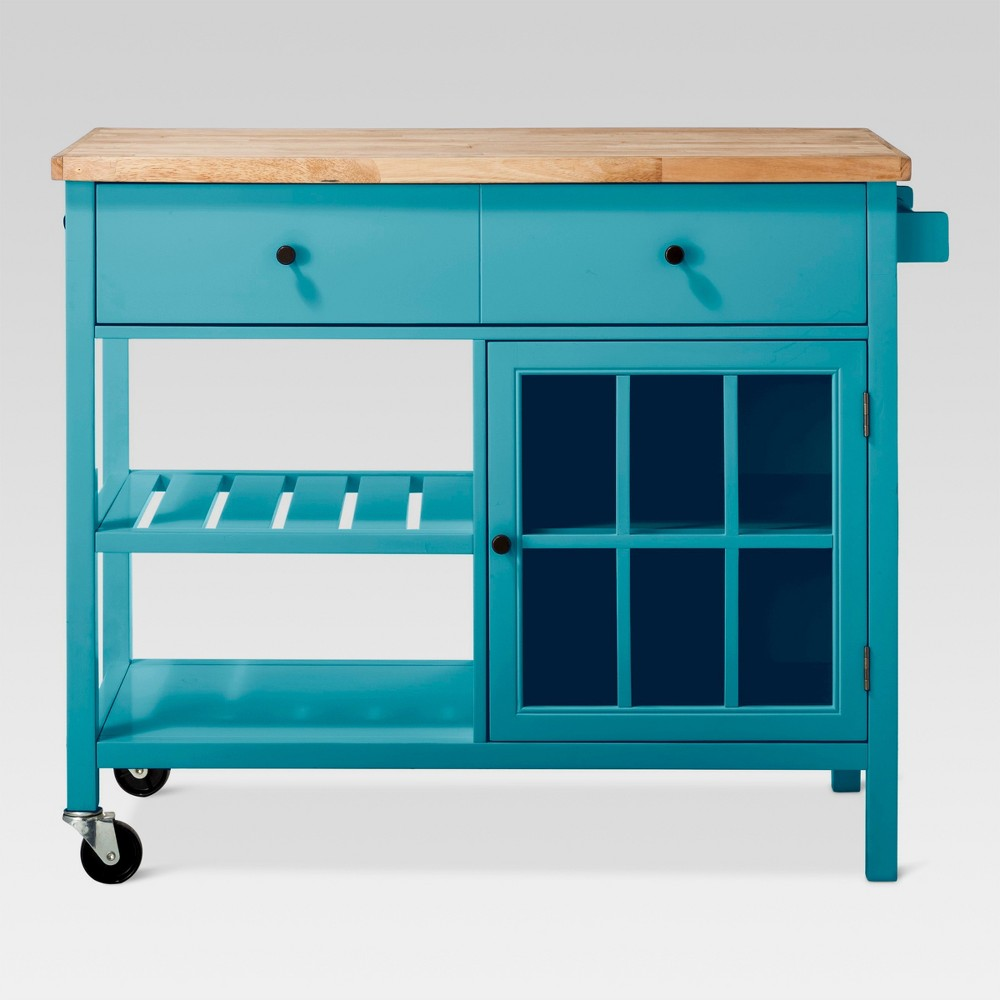 Windham Wood Top Kitchen Island - Teal (Blue) - Threshold