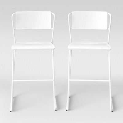 Astounding Set Of 2 Killiam Mixed Material Sled Counter Stool White Pdpeps Interior Chair Design Pdpepsorg