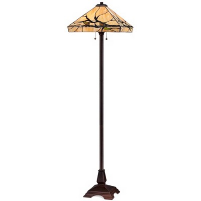 Robert Louis Tiffany Mission Floor Lamp Bronze Handcrafted Tiffany Style Stained Glass for Living Room Reading Bedroom Office