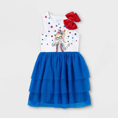 Girls' JoJo Siwa Americana Tutu Dress - White/Blue