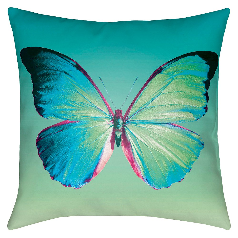 Teal Butterfly Throw Pillow 18