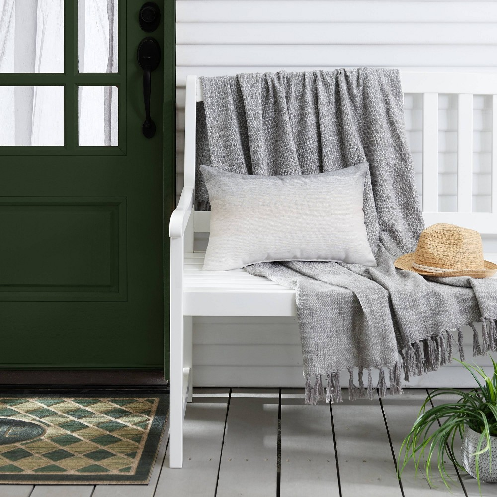 Image of Ombre Outdoor Throw Pillow Gray