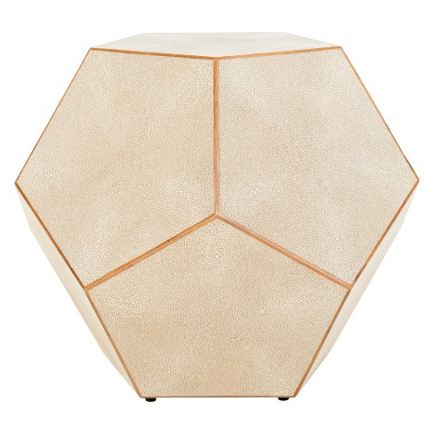 Bryon Faux Shagreen End Table Beige - Safavieh - image 1 of 6