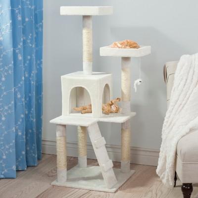 Petmaker Sleep and Play Cat Tree - 4 ft - White