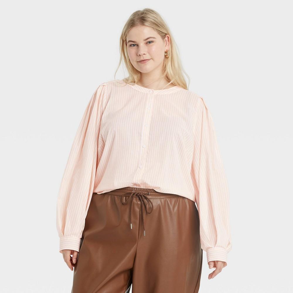 Women 39 S Plus Size Striped Long Sleeve Button Down