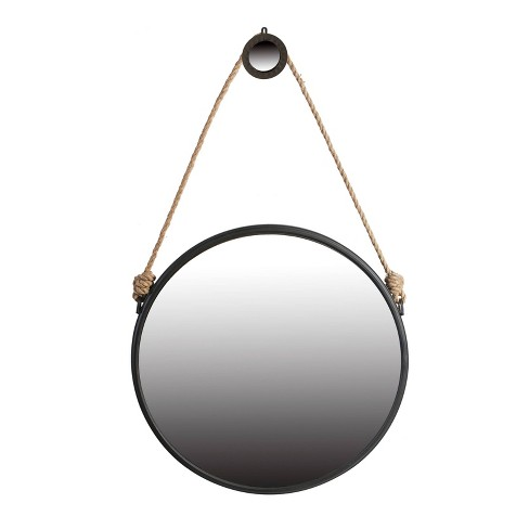 Large Cleveland Rope Strap Mirror with Hanger Matte Black - A&B Home - image 1 of 2