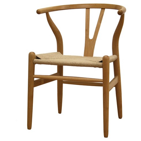 Wishbone Wood Y Chair Natural - Baxton Studio - image 1 of 4