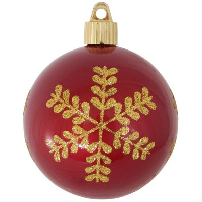 "Christmas by Krebs 4ct Candy Red and Gold Leafy Flakes Shatterproof Shiny Christmas Ball Ornaments 3.25"" (80mm)"