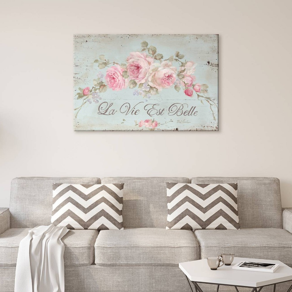 "Image of ""12"""" x 18"""" Life Is Beautiful by Debi Coules Unframed Wall Canvas Print Antique Blue - iCanvas, Size: 12"""" x 18"""""""