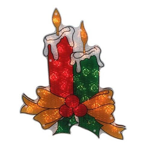 """Northlight 17"""" Lighted Holographic Candle Christmas Window Silhouette Decoration - image 1 of 3"""