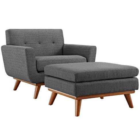 Engage 2pc Armchair and Ottoman Gray - Modway - image 1 of 6