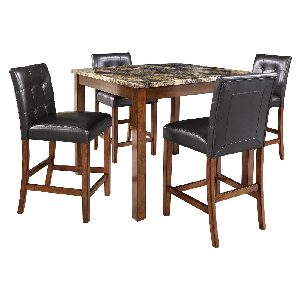 Image of 3pc Faux Marble Counter Height Dining Set - Cherry - Dorel Living