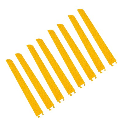 Pyle 40 Inch Cable Wire Protector Cover Ramp Track w/ Interlocking System for Indoor Outdoor Floor Extension Cord Safety Concealment, Yellow (8 Pack)