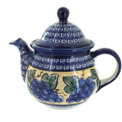 Blue Rose Polish Pottery Grapes Large Teapot with Cobalt Rim