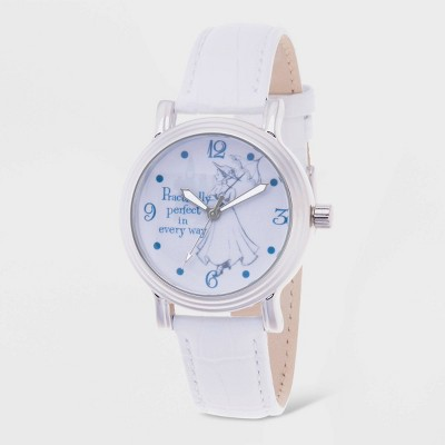 Women's Disney Mary Poppins Leather Strap Watch - White