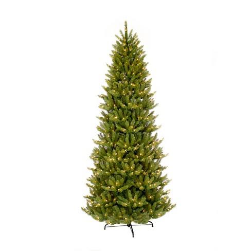 9ft prelit slim artificial christmas tree forest fir puleo - 9 Ft Slim Christmas Tree