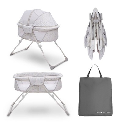 Delta Children EZ Fold Ultra Compact Travel Bassinet - Gray