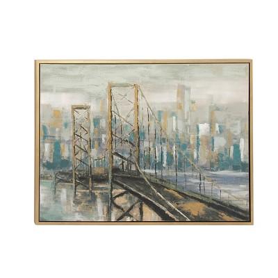 """36"""" x 47"""" Modern Fir Wood Framed City Canvas Art - Olivia & May"""