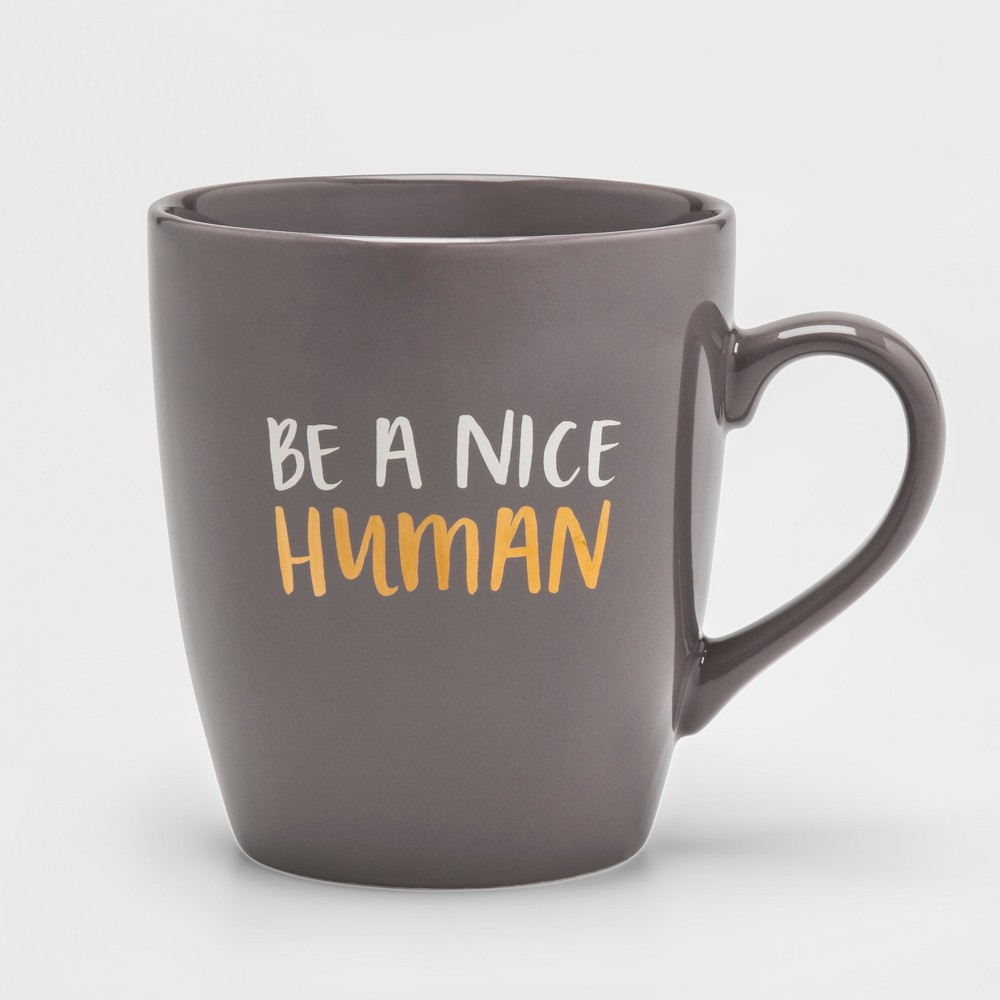 27oz Porcelain Be A Nice Human Mug Gray - Threshold