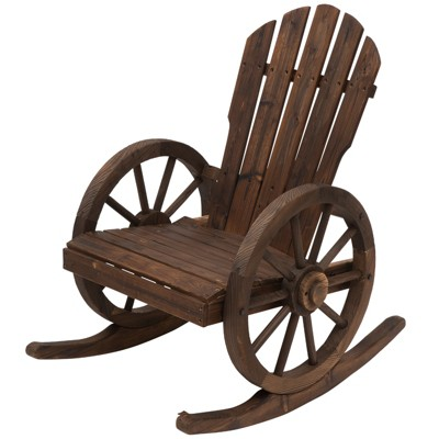 Outsunny Adirondack Rocking Chair with Slatted Design and Oversize Back for Porch Poolside or Garden Lounging
