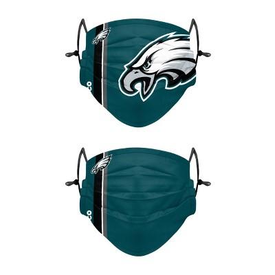 NFL Philadelphia Eagles Adult Gameday Adjustable Face Covering - 2pk