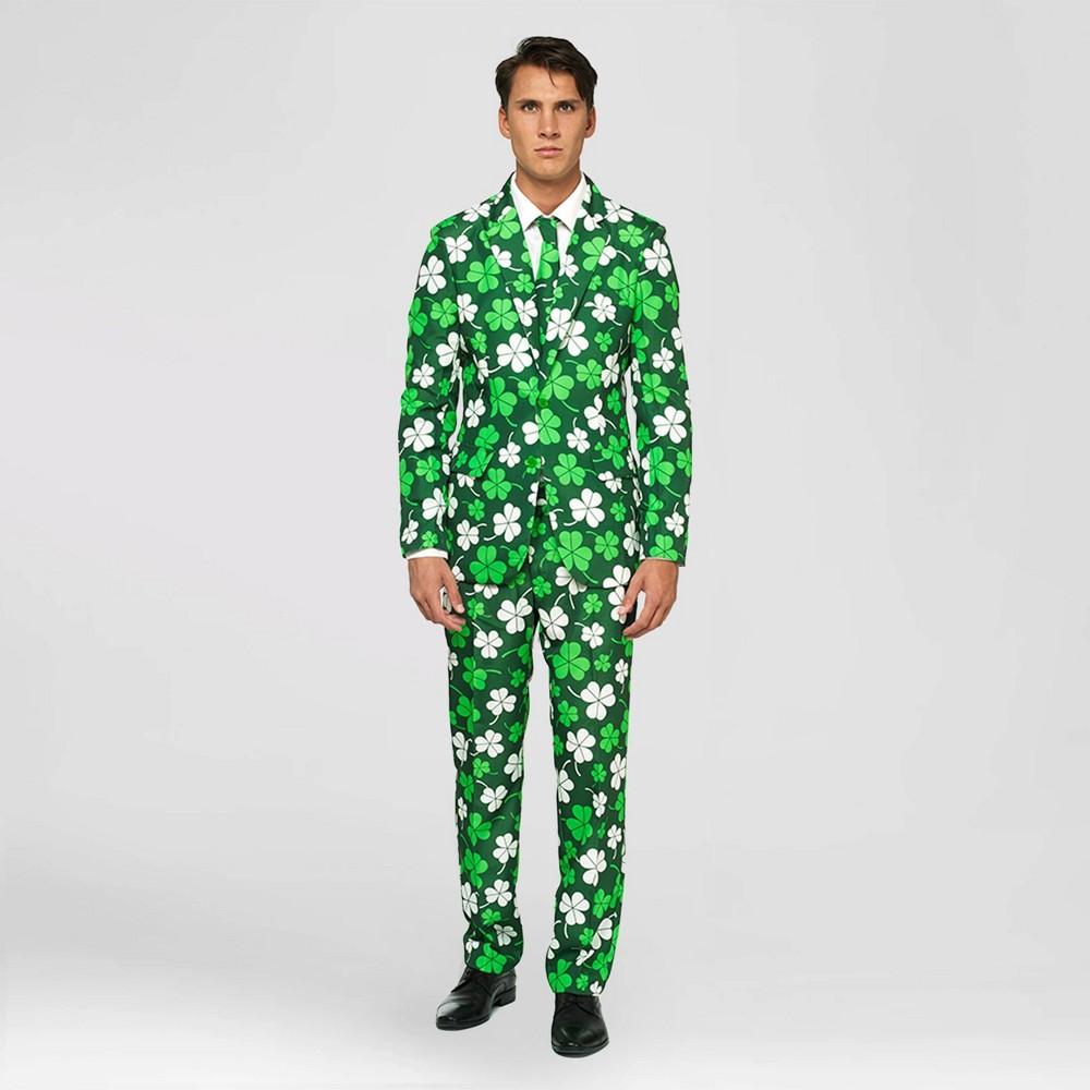 Men's St. Patrick's Day Slim Fit Long Sleeve Suit Jacket - Green L