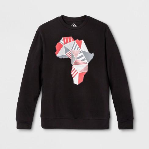81d1e6c6db919 Well Worn Adult Geo Africa Crew Sweatshirt - Black   Target