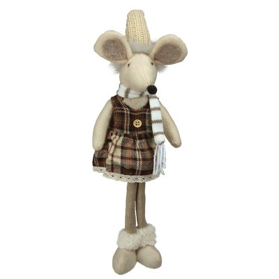 """Northlight 21"""" Beige and Brown Standing Girl Mouse in Plaid Dress Christmas Tabletop Figure"""