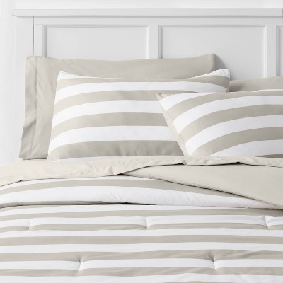 Light Gray Stripe Print Comforter Set with Gray Sheets - Room Essentials™