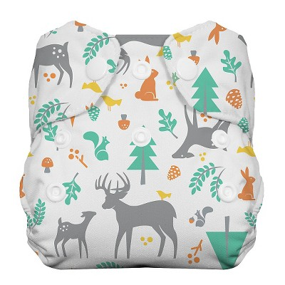 Thirsties All-in-One Snap Reusable Diaper, Newborn - Woodland